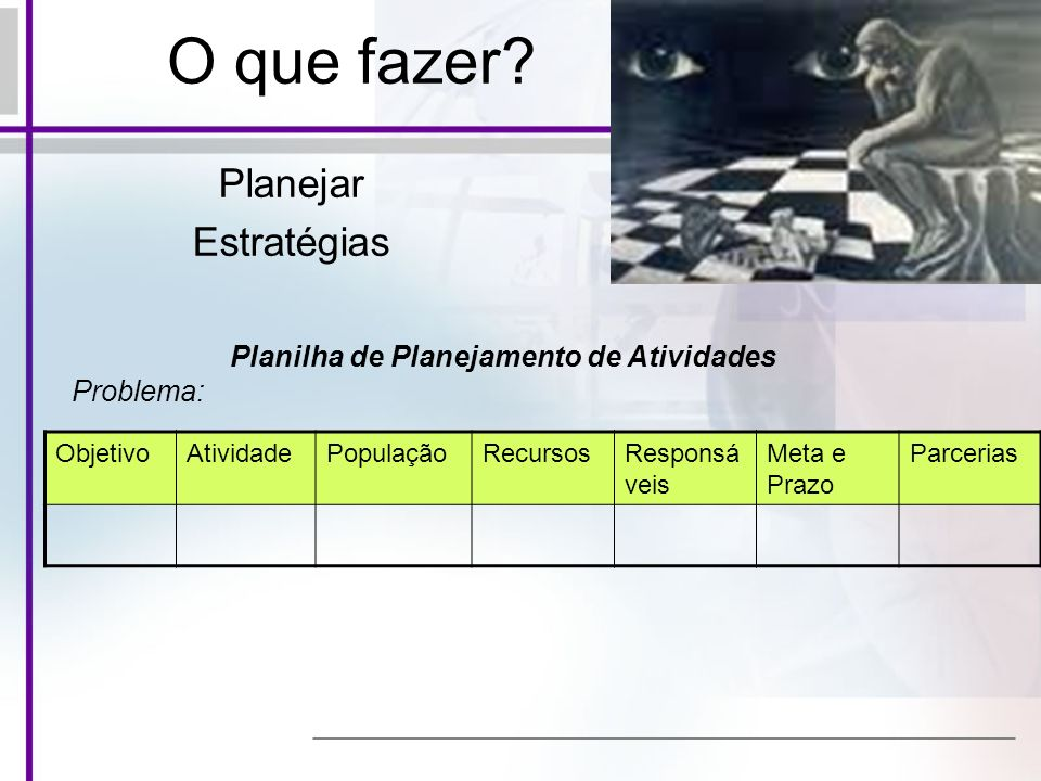 Planilha de Planejamento de Atividades