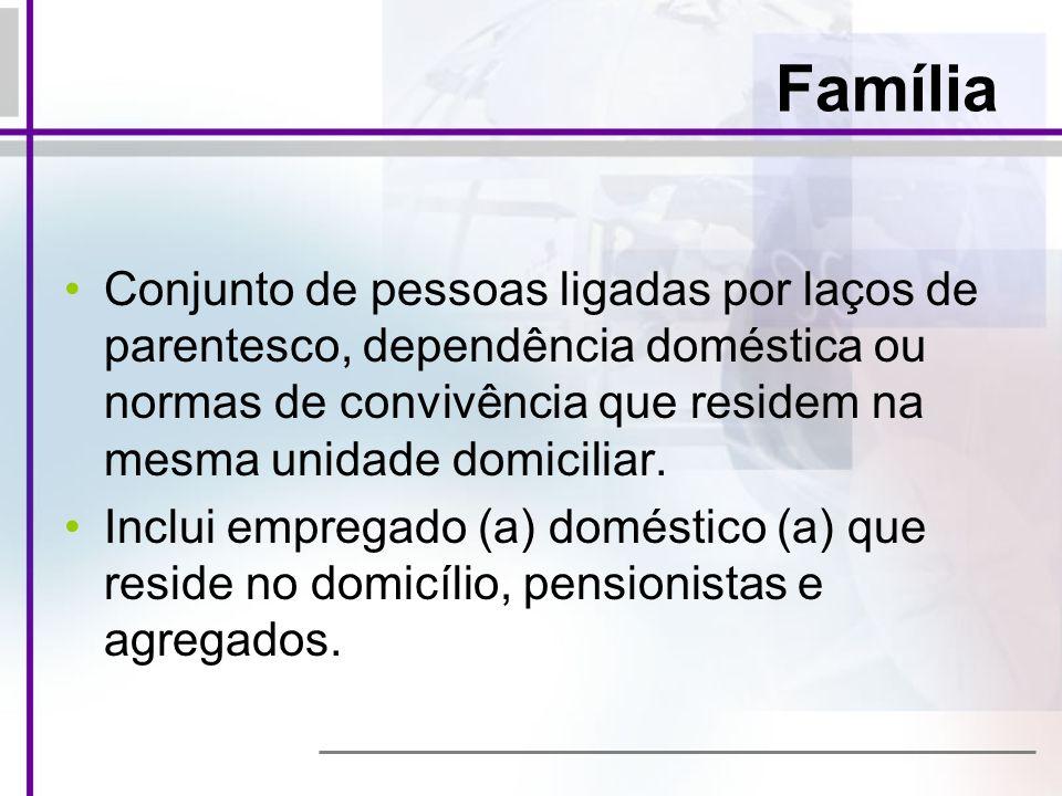 Família Conjunto de pessoas ligadas por laços de parentesco, dependência doméstica ou normas de convivência que residem na mesma unidade domiciliar.