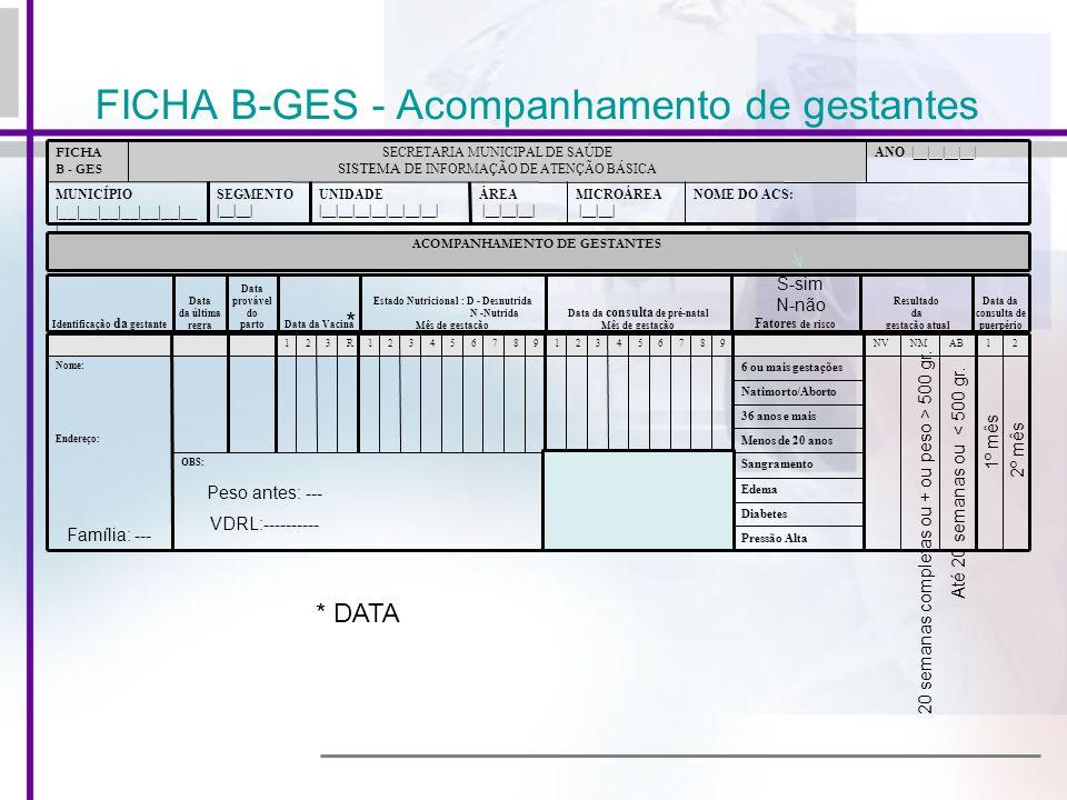 FICHA B-GES - Acompanhamento de gestantes