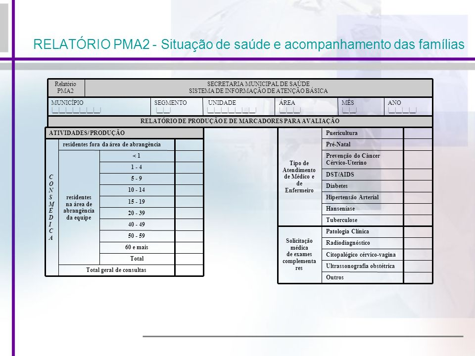 RELATÓRIO PMA2 - Situação de saúde e acompanhamento das famílias