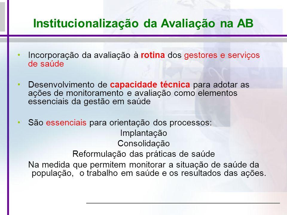 Institucionalização da Avaliação na AB