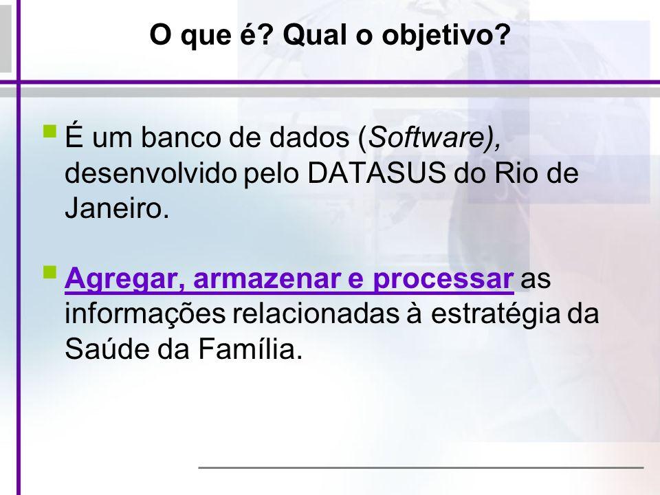 O que é Qual o objetivo É um banco de dados (Software), desenvolvido pelo DATASUS do Rio de Janeiro.