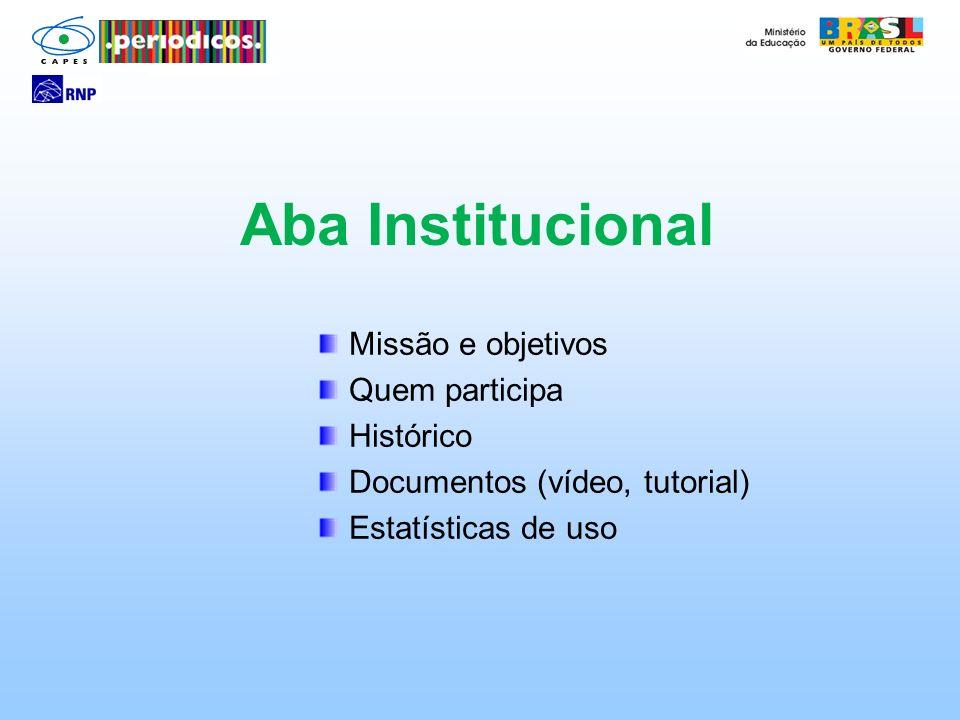 Aba Institucional Missão e objetivos Quem participa Histórico