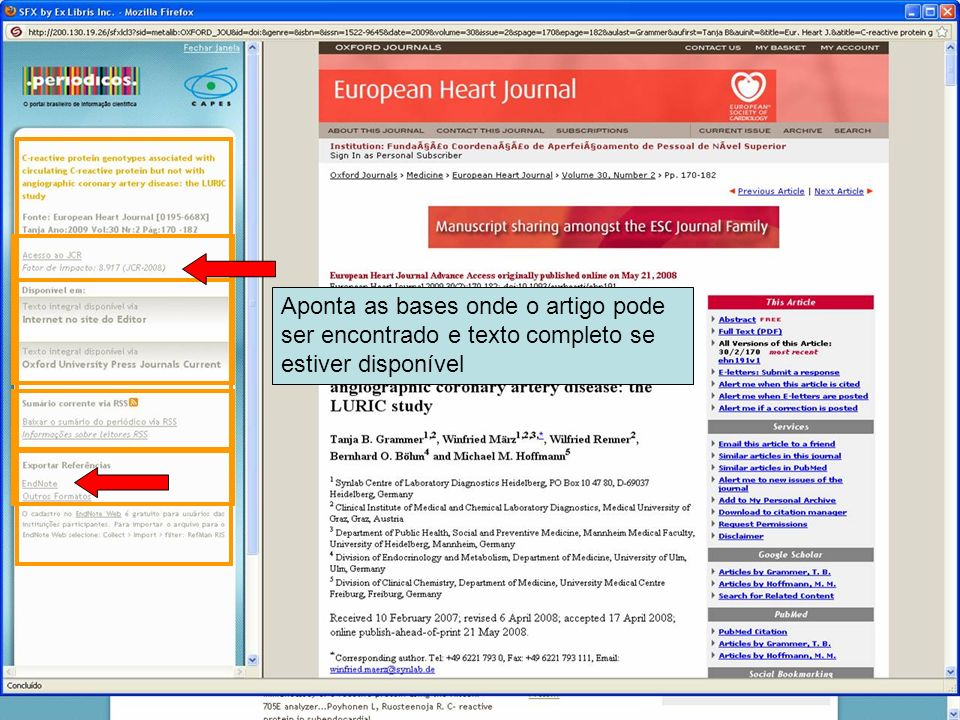 Aponta as bases onde o artigo pode ser encontrado e texto completo se estiver disponível