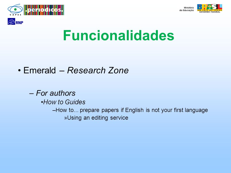 Funcionalidades Emerald – Research Zone For authors How to Guides
