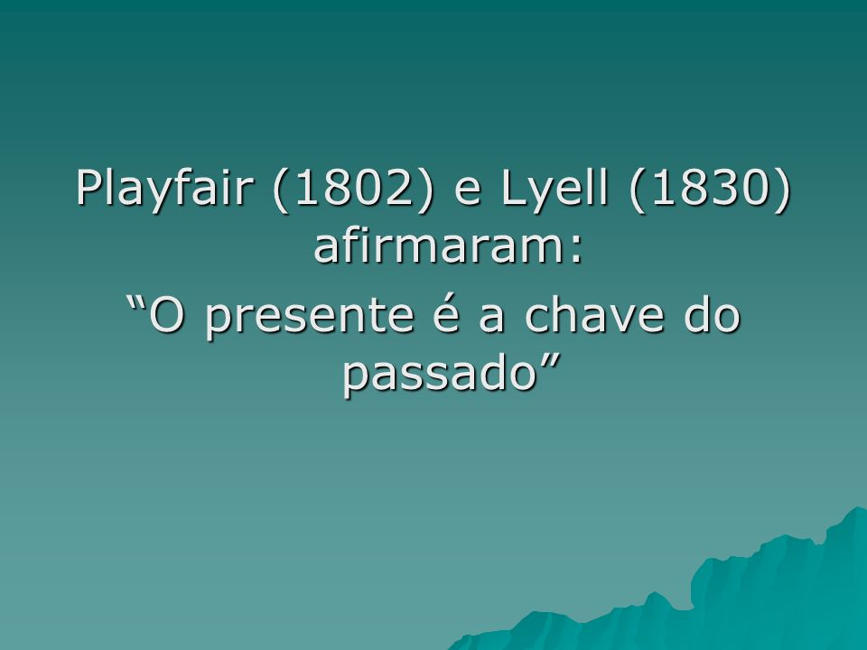 Playfair (1802) e Lyell (1830) afirmaram: