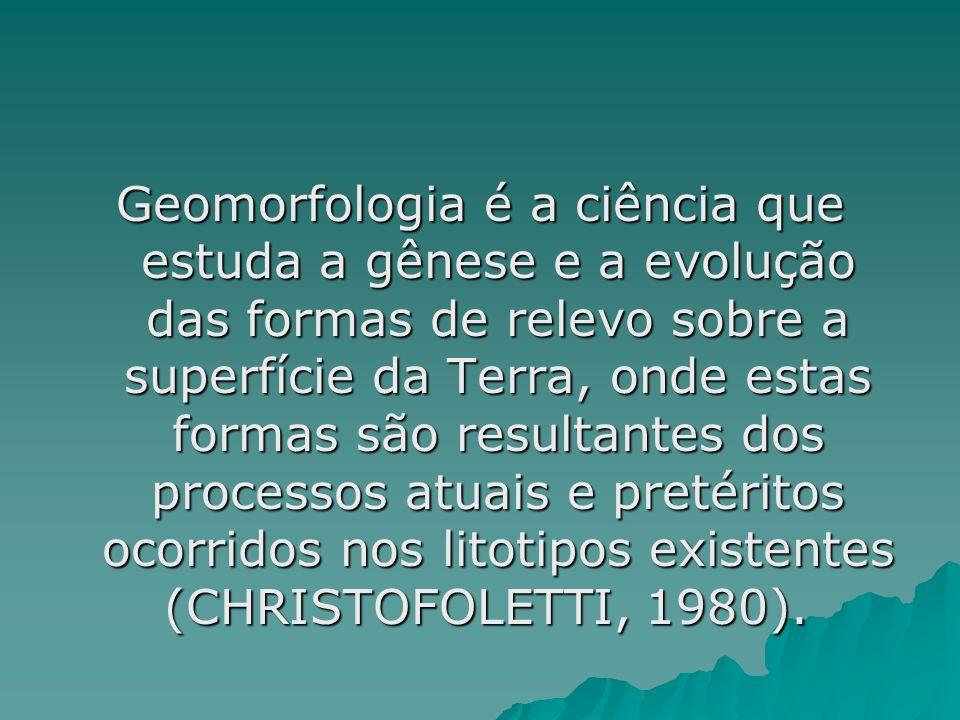 Geomorfologia é a ciência que estuda a gênese e a evolução das formas de relevo sobre a superfície da Terra, onde estas formas são resultantes dos processos atuais e pretéritos ocorridos nos litotipos existentes (CHRISTOFOLETTI, 1980).