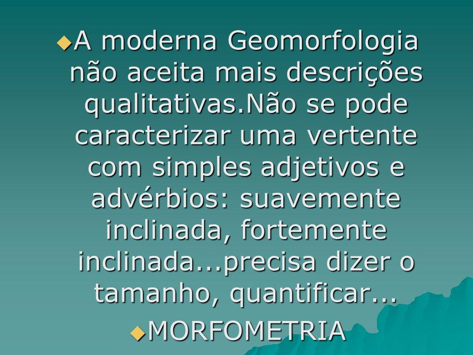 A moderna Geomorfologia não aceita mais descrições qualitativas