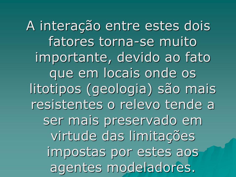 A interação entre estes dois fatores torna-se muito importante, devido ao fato que em locais onde os litotipos (geologia) são mais resistentes o relevo tende a ser mais preservado em virtude das limitações impostas por estes aos agentes modeladores.