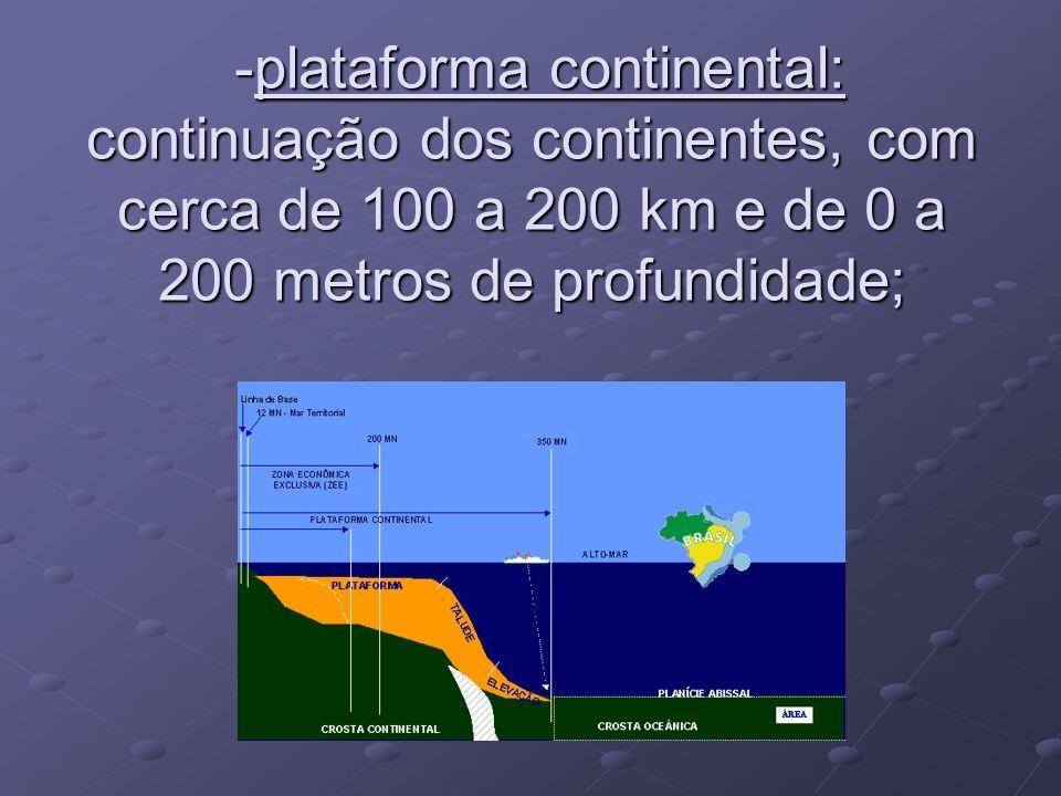 -plataforma continental: continuação dos continentes, com cerca de 100 a 200 km e de 0 a 200 metros de profundidade;