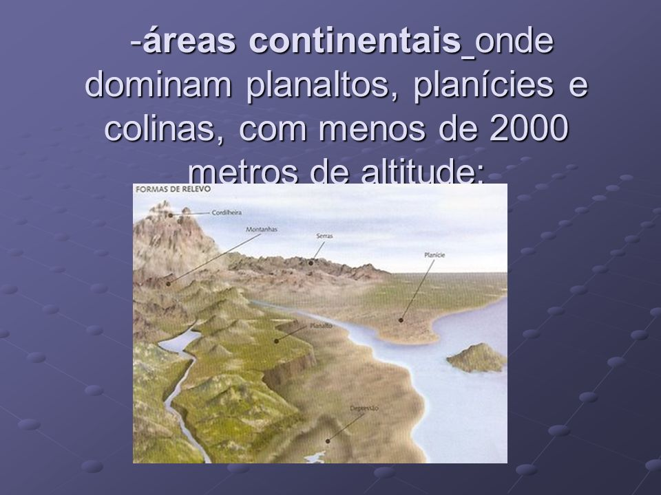 -áreas continentais onde dominam planaltos, planícies e colinas, com menos de 2000 metros de altitude;