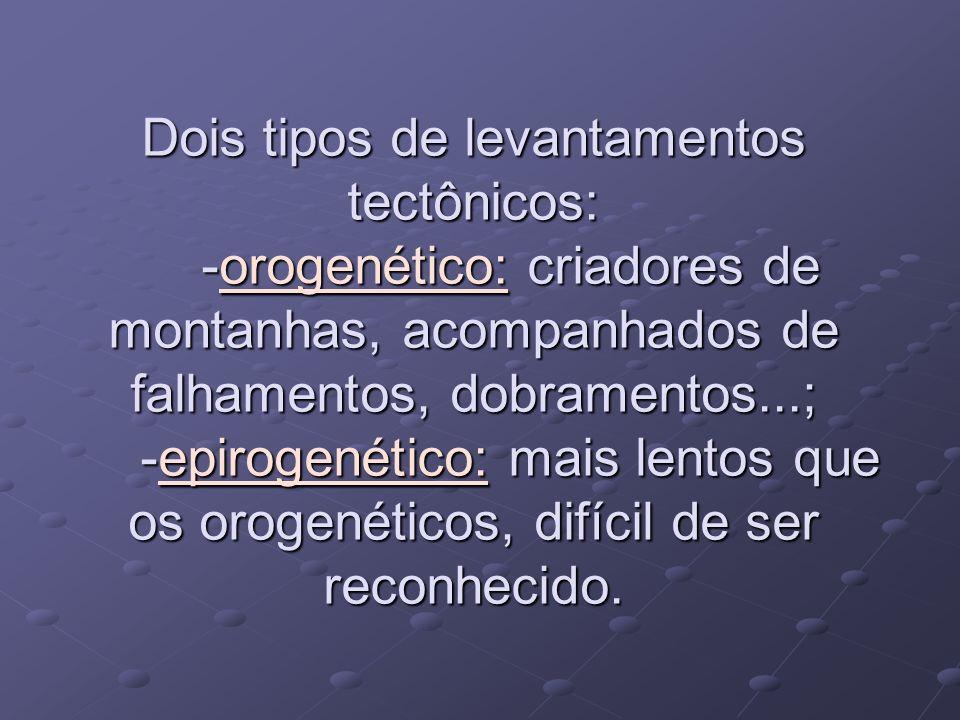 Dois tipos de levantamentos tectônicos: -orogenético: criadores de montanhas, acompanhados de falhamentos, dobramentos...; -epirogenético: mais lentos que os orogenéticos, difícil de ser reconhecido.