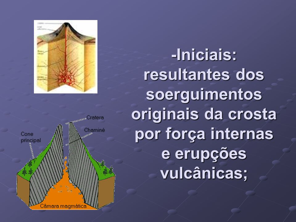 -Iniciais: resultantes dos soerguimentos originais da crosta por força internas e erupções vulcânicas;
