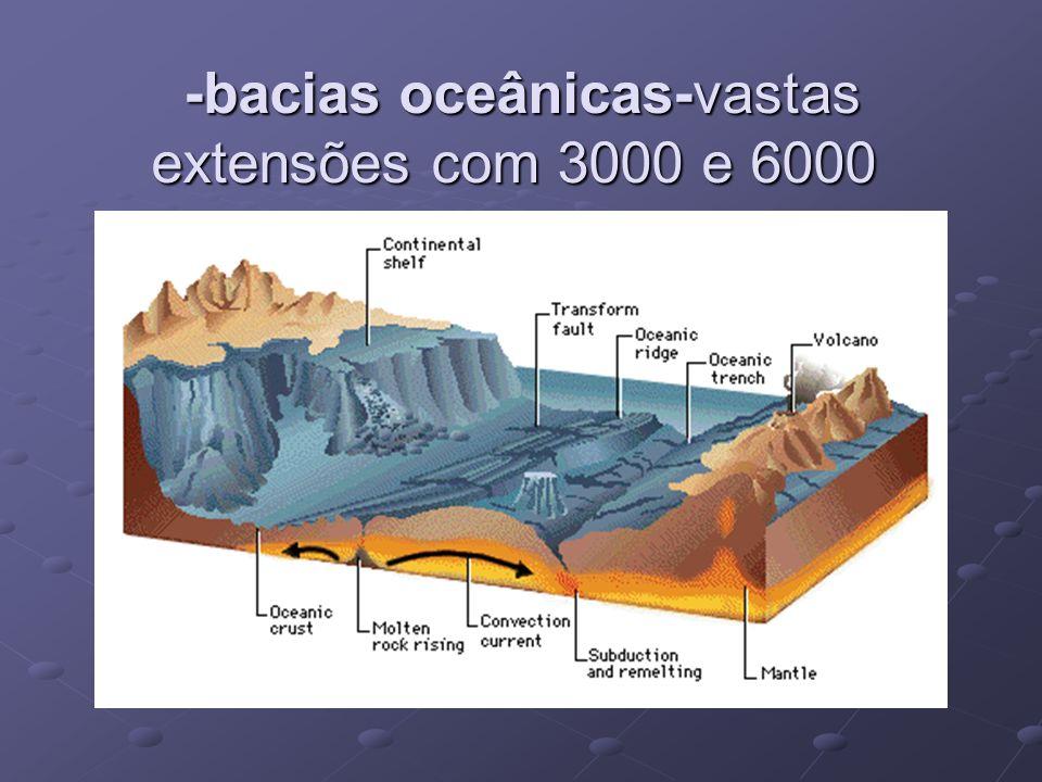 -bacias oceânicas-vastas extensões com 3000 e 6000 metros de altitude;