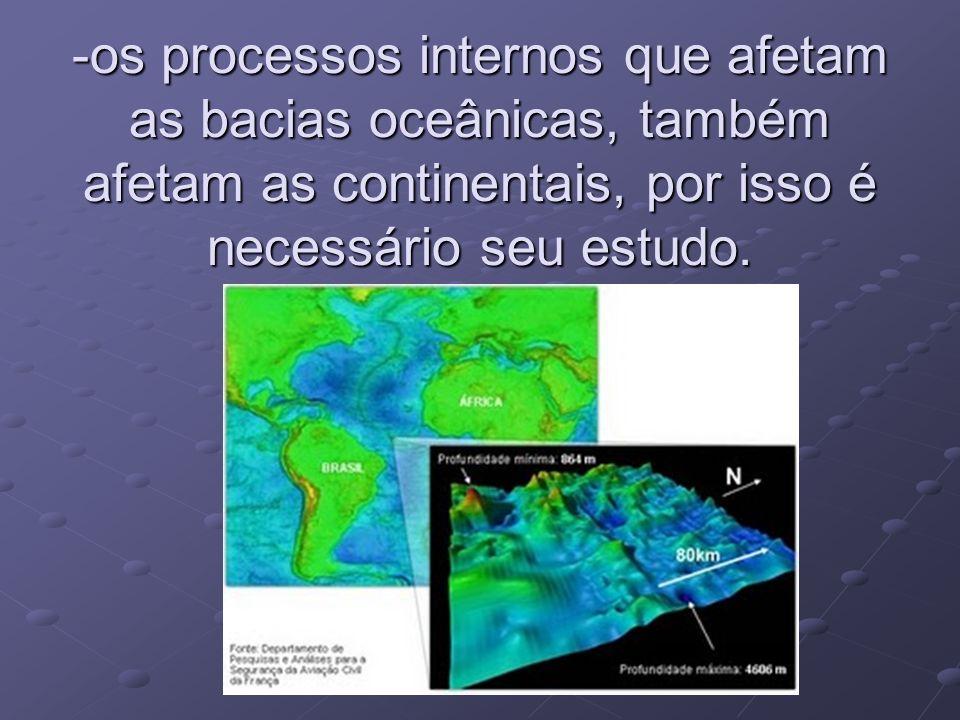 -os processos internos que afetam as bacias oceânicas, também afetam as continentais, por isso é necessário seu estudo.