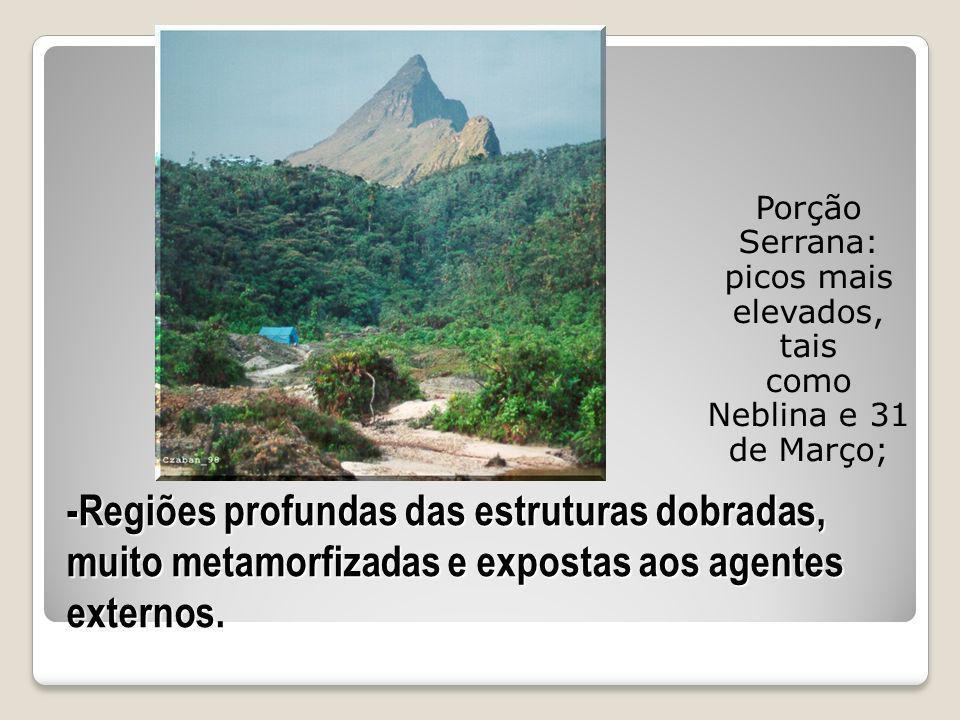 Porção Serrana: picos mais elevados, tais