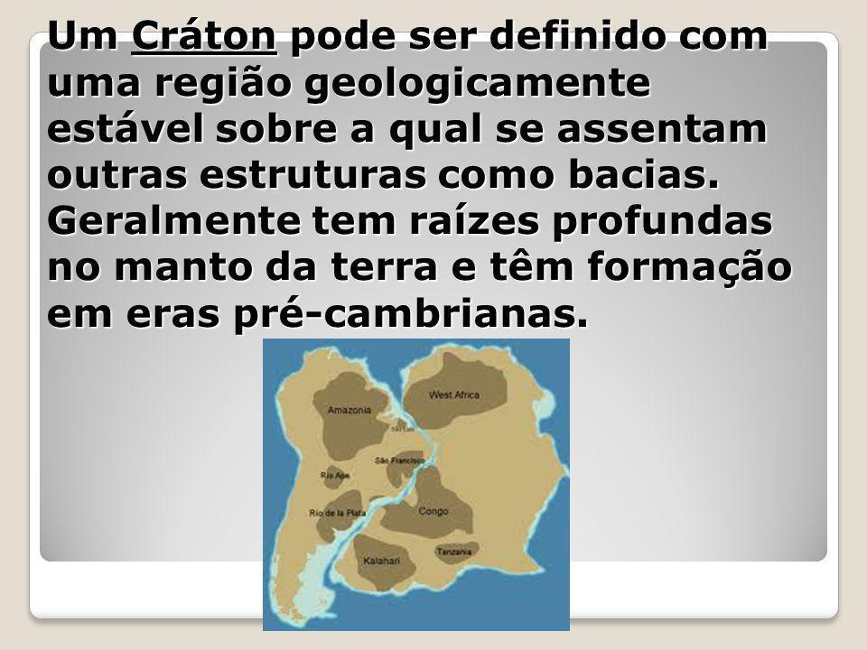 Um Cráton pode ser definido com uma região geologicamente estável sobre a qual se assentam outras estruturas como bacias.