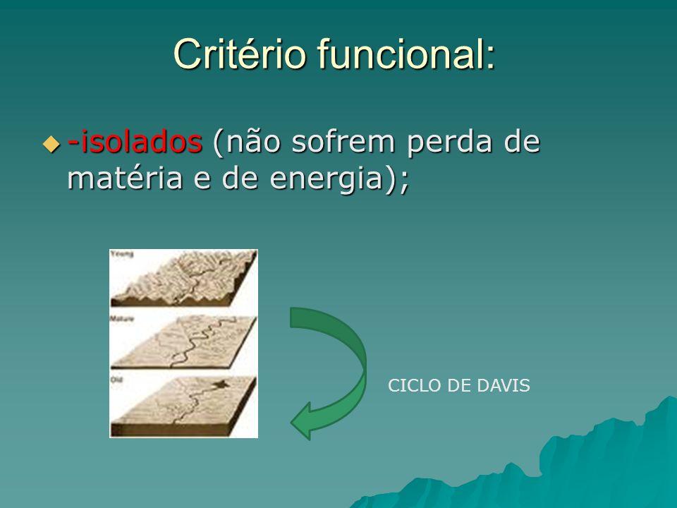 Critério funcional: -isolados (não sofrem perda de matéria e de energia); CICLO DE DAVIS