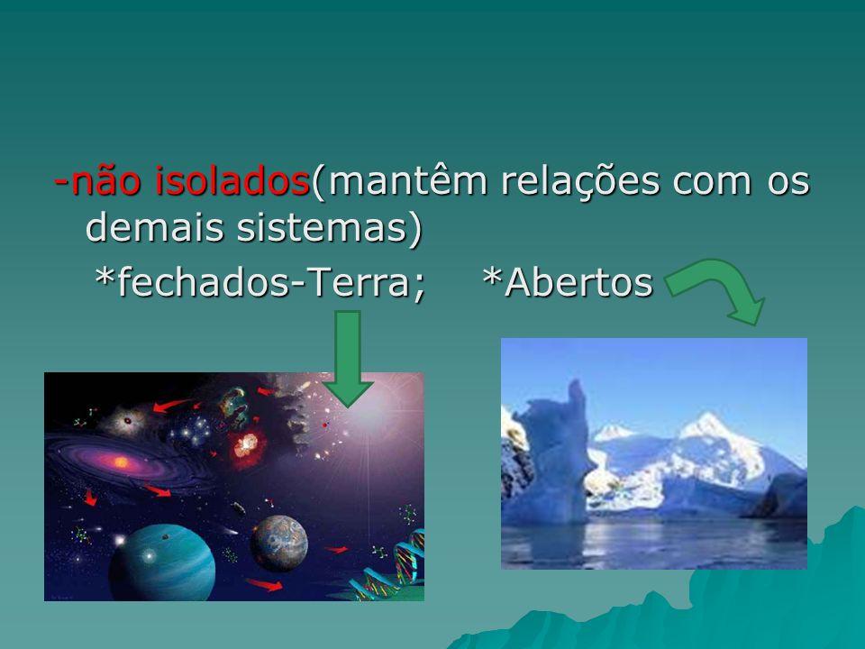 -não isolados(mantêm relações com os demais sistemas). fechados-Terra;