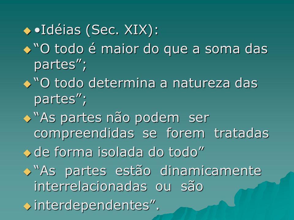 •Idéias (Sec. XIX): O todo é maior do que a soma das partes ; O todo determina a natureza das partes ;