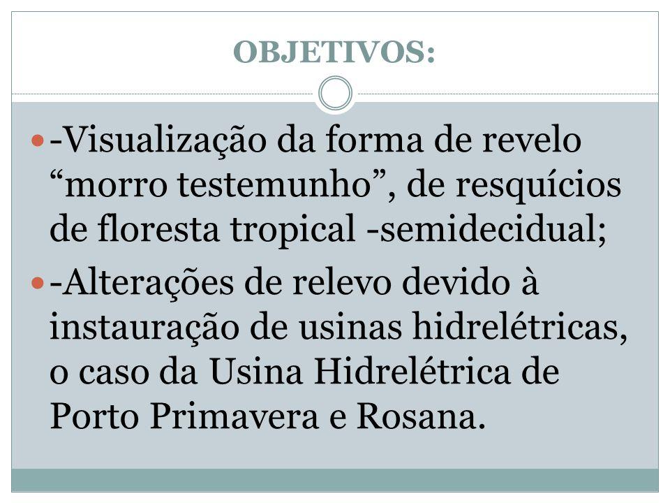OBJETIVOS: -Visualização da forma de revelo morro testemunho , de resquícios de floresta tropical -semidecidual;