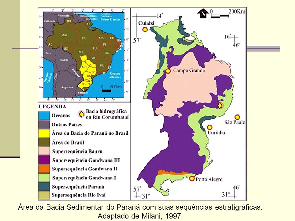 Área da Bacia Sedimentar do Paraná com suas seqüências estratigráficas.
