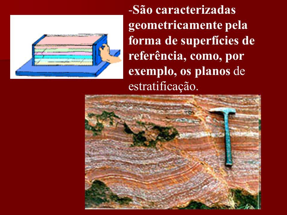 São caracterizadas geometricamente pela forma de superfícies de referência, como, por exemplo, os planos de estratificação.