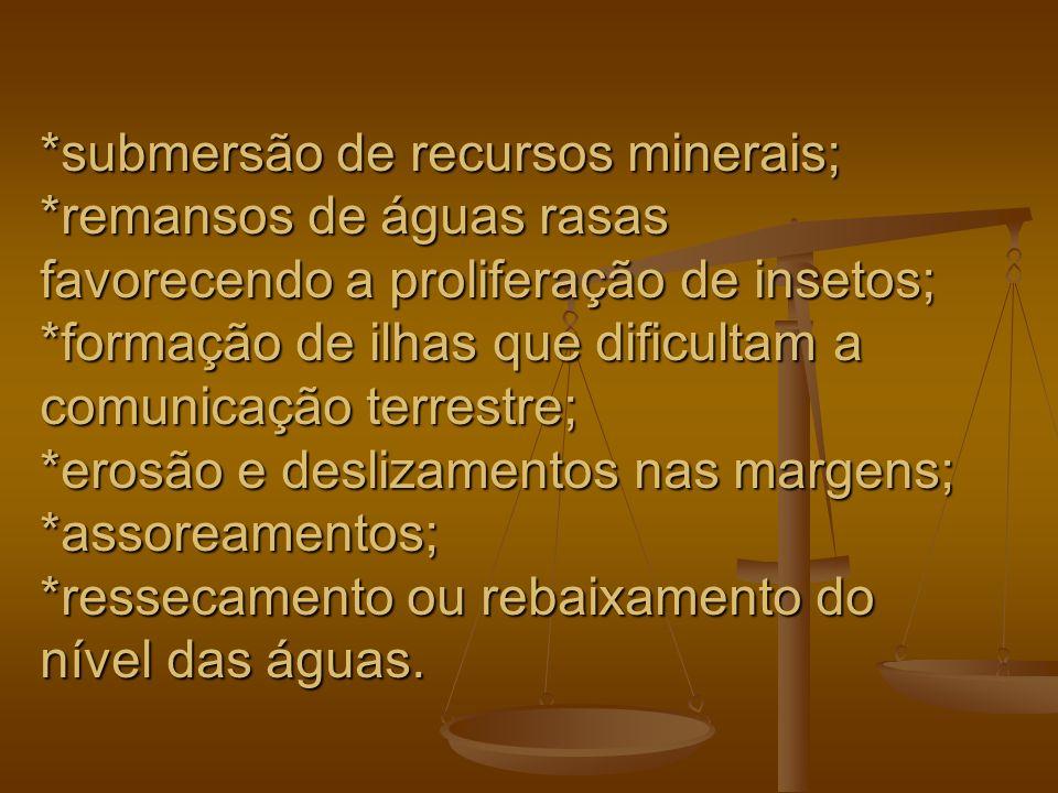 submersão de recursos minerais;