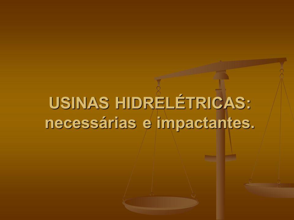 USINAS HIDRELÉTRICAS: necessárias e impactantes.