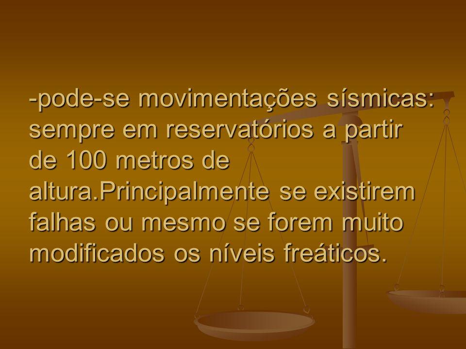 -pode-se movimentações sísmicas: sempre em reservatórios a partir de 100 metros de altura.Principalmente se existirem falhas ou mesmo se forem muito modificados os níveis freáticos.