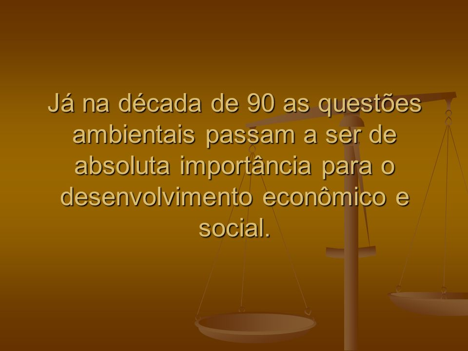 Já na década de 90 as questões ambientais passam a ser de absoluta importância para o desenvolvimento econômico e social.