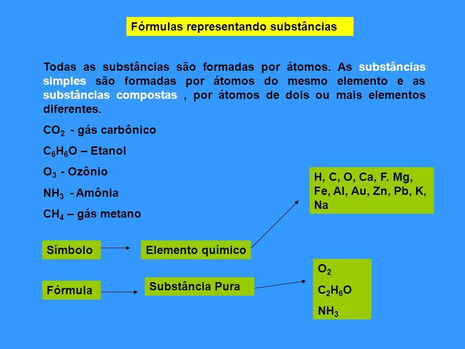 Fórmulas representando substâncias