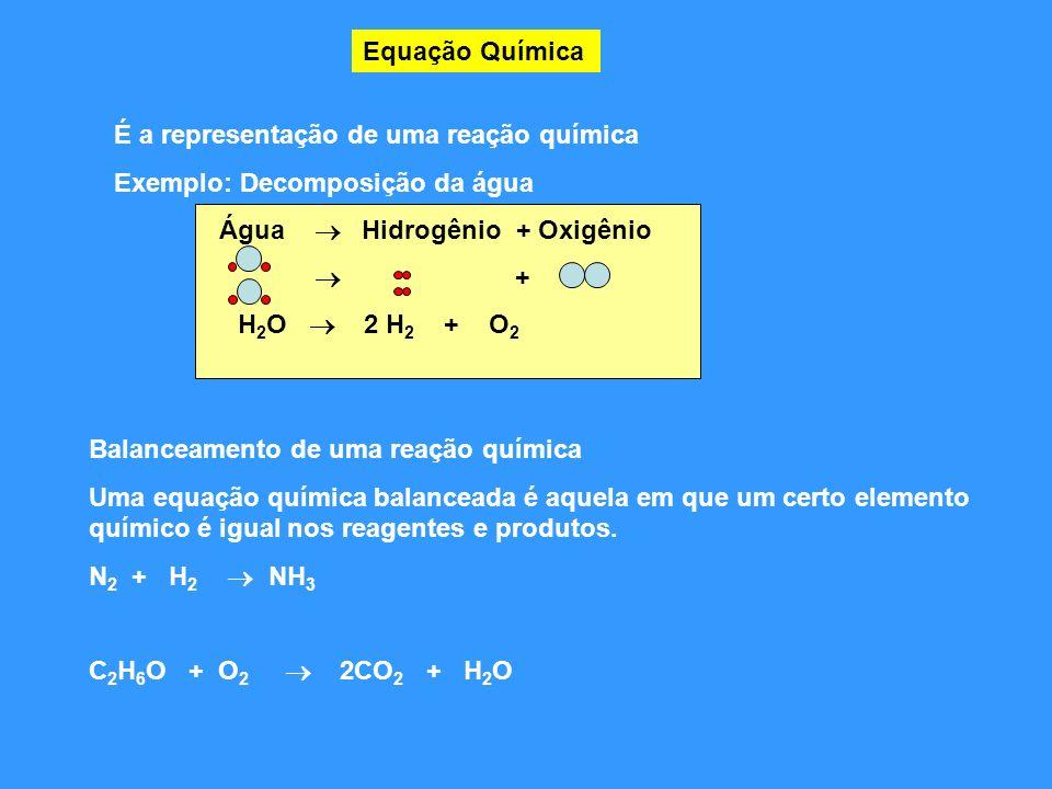 Equação Química É a representação de uma reação química. Exemplo: Decomposição da água. Água  Hidrogênio + Oxigênio.