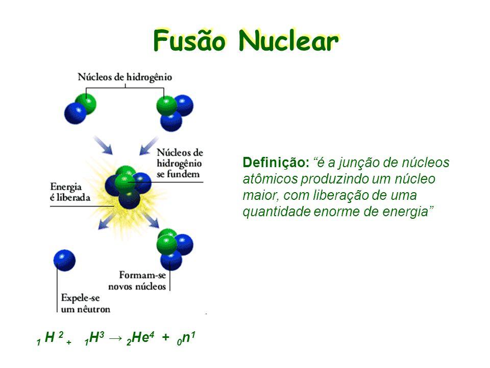 Fusão Nuclear Definição: é a junção de núcleos atômicos produzindo um núcleo maior, com liberação de uma quantidade enorme de energia