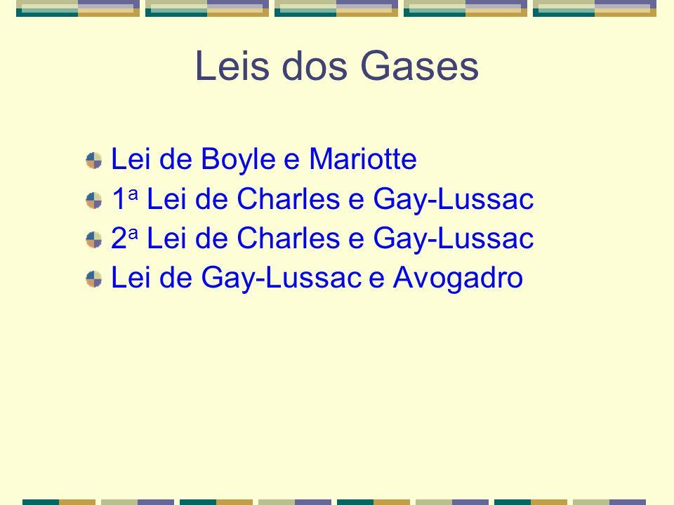 Leis dos Gases Lei de Boyle e Mariotte 1a Lei de Charles e Gay-Lussac