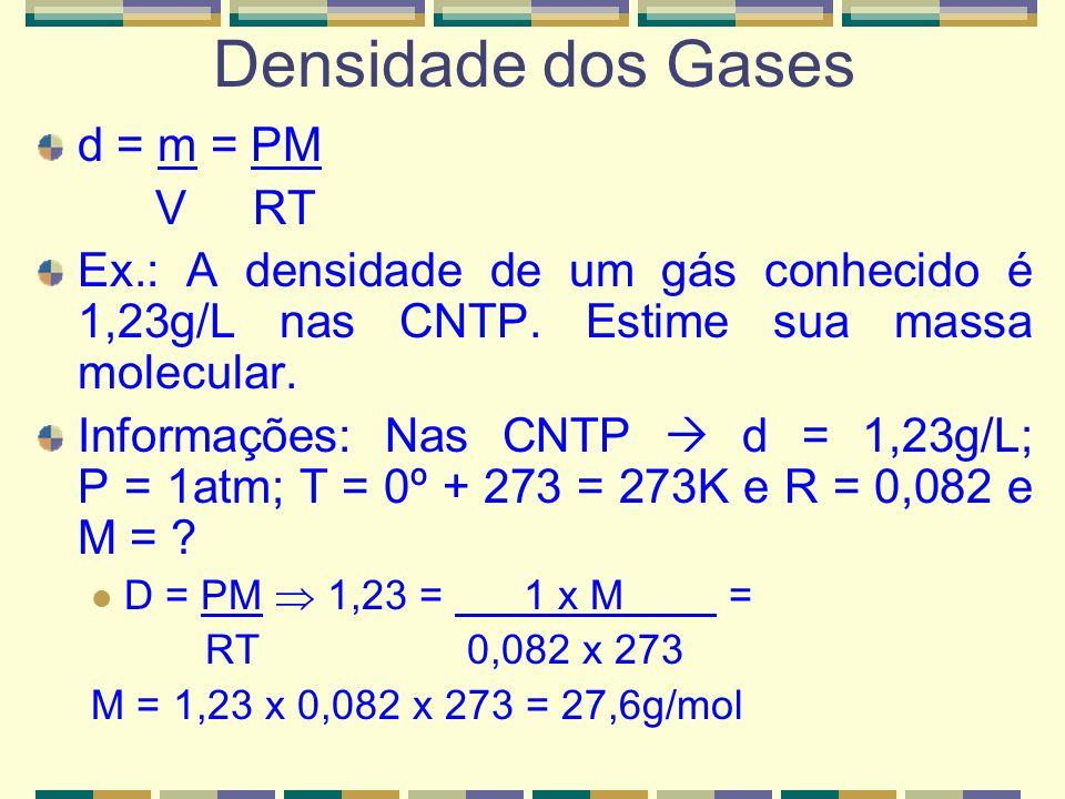 Densidade dos Gases d = m = PM V RT