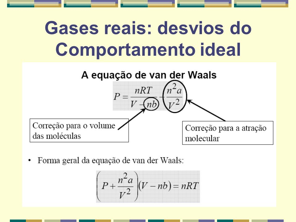 Gases reais: desvios do Comportamento ideal
