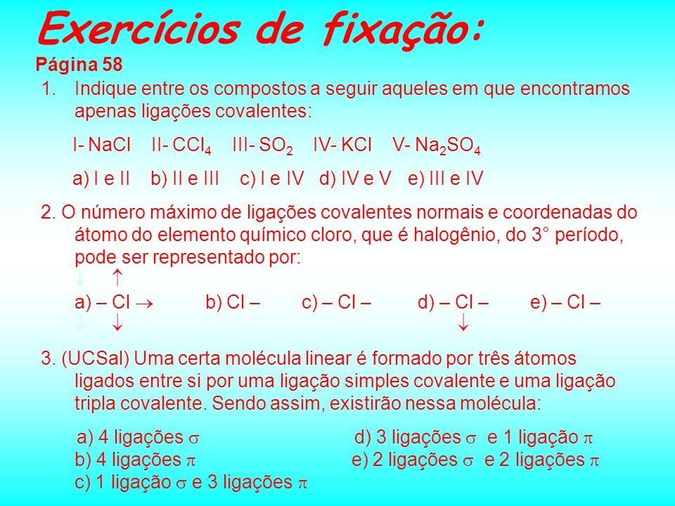 Exercícios de fixação: Página 58