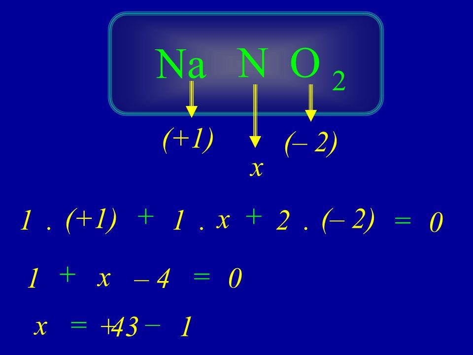 Na N O 2 (+1) (– 2) x (+1) + + 1 . 1 . x 2 . (– 2) = + 1 x – 4 = x = –