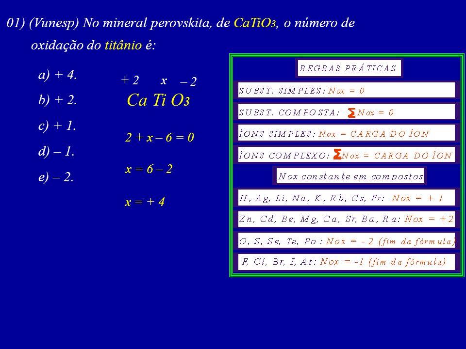 Ca Ti O3 01) (Vunesp) No mineral perovskita, de CaTiO3, o número de