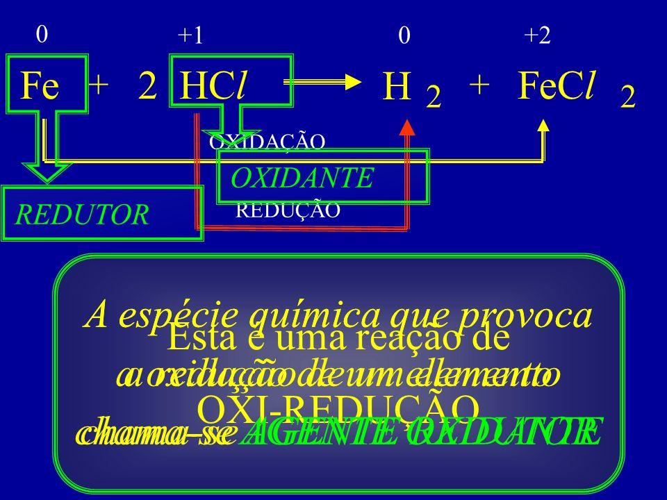 +1 +2. Fe. + 2. HCl. H. + FeCl. 2. 2. OXIDAÇÃO. OXIDANTE. REDUTOR. REDUÇÃO.