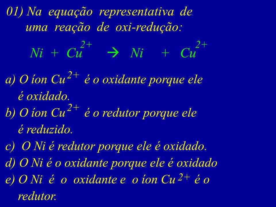 Ni + Cu  Ni + Cu 01) Na equação representativa de