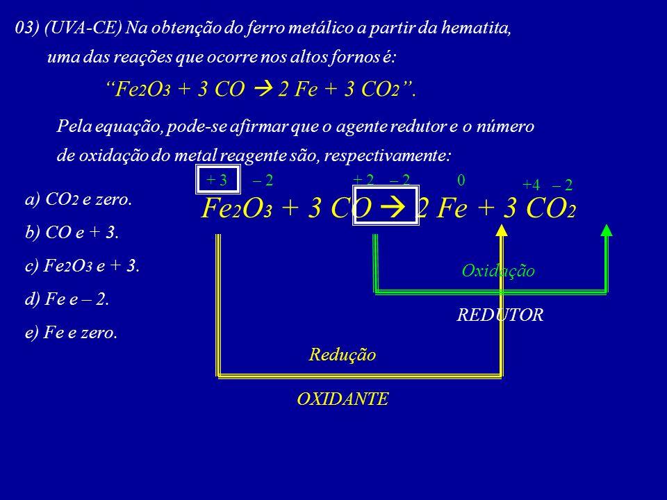 03) (UVA-CE) Na obtenção do ferro metálico a partir da hematita,