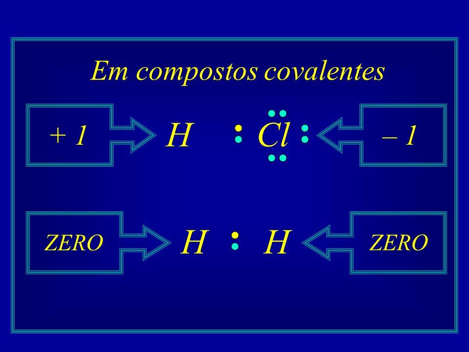Em compostos covalentes