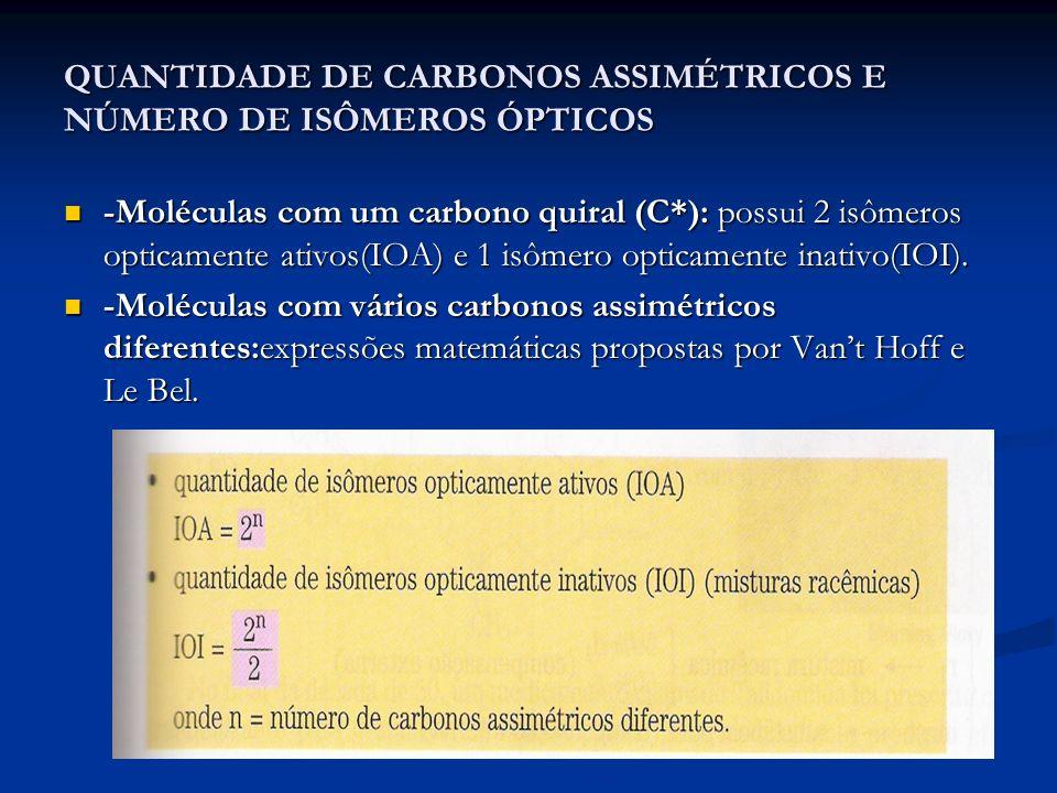 QUANTIDADE DE CARBONOS ASSIMÉTRICOS E NÚMERO DE ISÔMEROS ÓPTICOS