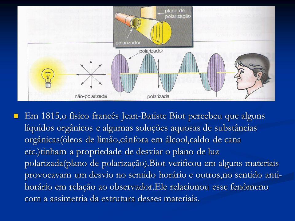 Em 1815,o físico francês Jean-Batiste Biot percebeu que alguns líquidos orgânicos e algumas soluções aquosas de substâncias orgânicas(óleos de limão,cânfora em álcool,caldo de cana etc.)tinham a propriedade de desviar o plano de luz polarizada(plano de polarização).Biot verificou em alguns materiais provocavam um desvio no sentido horário e outros,no sentido anti-horário em relação ao observador.Ele relacionou esse fenômeno com a assimetria da estrutura desses materiais.