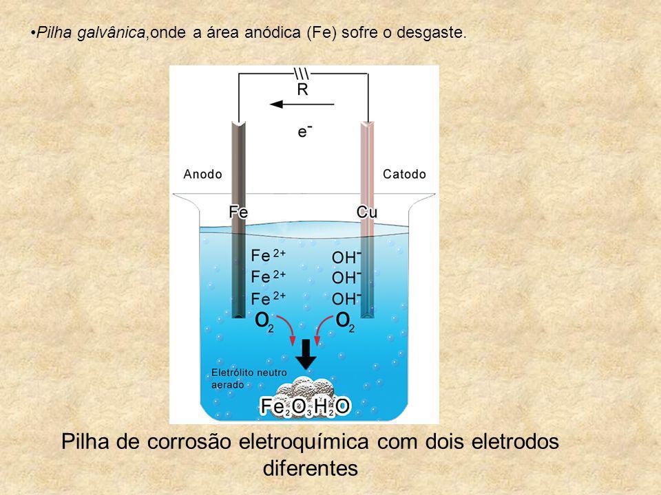 Pilha de corrosão eletroquímica com dois eletrodos diferentes