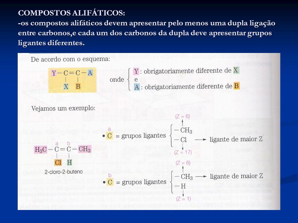 COMPOSTOS ALIFÁTICOS: -os compostos alifáticos devem apresentar pelo menos uma dupla ligação entre carbonos,e cada um dos carbonos da dupla deve apresentar grupos ligantes diferentes.