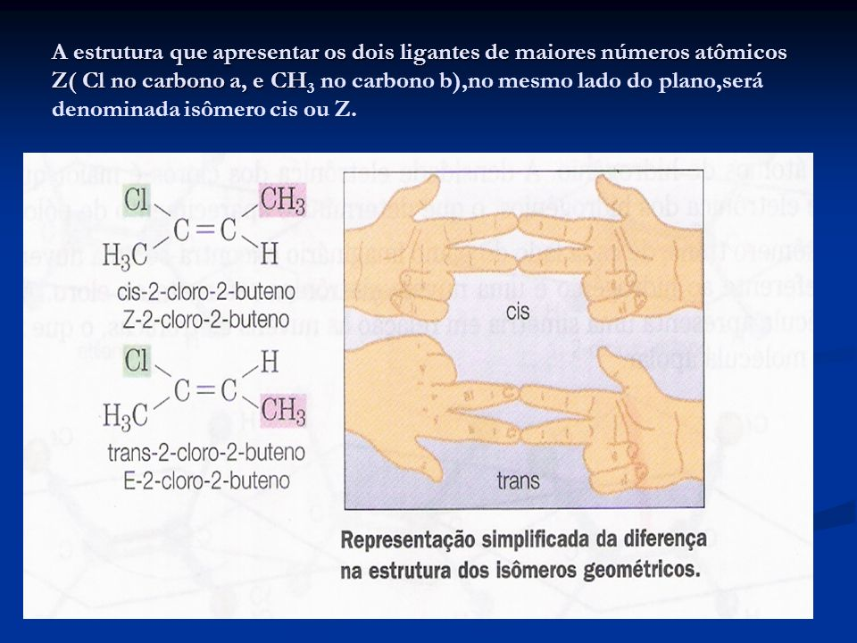 A estrutura que apresentar os dois ligantes de maiores números atômicos Z( Cl no carbono a, e CH3 no carbono b),no mesmo lado do plano,será denominada isômero cis ou Z.