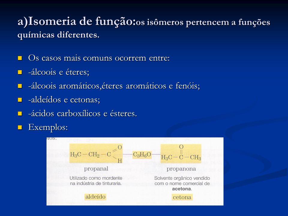 a)Isomeria de função:os isômeros pertencem a funções químicas diferentes.